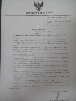 Surat Edaran Walikota Balikpapan Tentang Administrasi